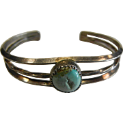 Vintage Sterling Silver Cuff Bracelet w/ Natural Turquoise Cabochon