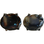 Awesome Patented Sterling Silver Cufflinks w/ Natural Agate