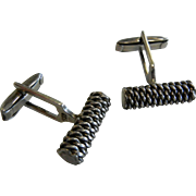 Sterling Silver Cufflinks w/ Wrapped Chain Texture