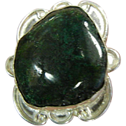 Unique Sterling Silver Ring w/ Natural Green Stone