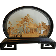 Vintage Chinese Cork Art Diorama Shadow Box