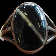 Vintage Sterling Silver Ring w/ Polished Back Onyx
