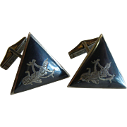 Vintage Siamese Sterling Silver Triangular Cuff Links w/ Dancing Deity