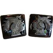 Vintage Mexican Sterling Silver Cufflinks w/ Aztec Warrior Faces
