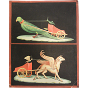 Fine Hand Painted Watercolor Painting of Griffin & Bird Pulling Carts
