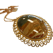 Vintage Gilded 800 Silver Pendant w/ Natural Picture Agate Cabochon