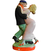 Vintage Porcelain Bottle w/ Hand Painted Couple Dancing - Made in Germany