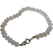 Natural Rose Quartz Beaded Bracelet w/ Sterling Silver Clasp