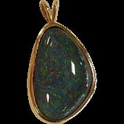 Fine Natural Opal Doublet 14K Gold Pendant