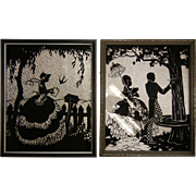 Vintage Art Deco Reverse Painted Silhouette Foil Pictures - Set of Two