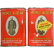 Vintage Prince Albert Crimp Cut Tobacco Tins - Set of Two