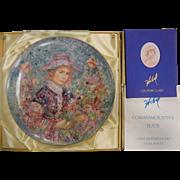 "Edna Hibel ""Flower Girl of Provence"" Commemorative Plate 13"" w/ Original Box"