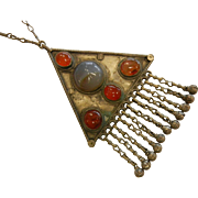 Awesome Tribal-Style Pendant Necklace w/ Bells & Natural Agates