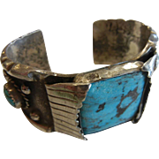 Vintage Sterling Silver Cuff Bracelet w/ Natural Turquoise Stones