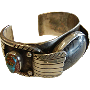 Vintage Sterling Silver Cuff Bracelet w/ Natural Picture Agate & Turquoise