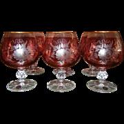 Vintage ROSSI Cranberry Colored Crystal Glasses - Set of 6