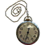 Vintage Silver-Tone Elgin 575 USA 15 Jewel Pocket Watch w/ Fob