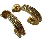 Fine 14K Gold Stud Hoop Earrings w/ Diamonds