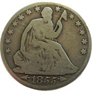 1855 Seated Liberty Half Dollar w/ Arrows at Date, No Rays