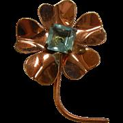 Vintage Copper Flower Brooch w/ Faceted Blue Glass Jewel