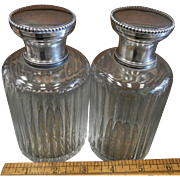 Pair of Cut Crystal Boudoir Scent Bottles w/ Hallmarked French Sterling Silver Lids