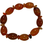 Natural Carnelian Beaded Stretch Bracelet
