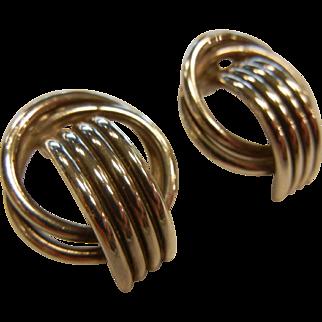 Vintage Sterling Silver Geometric Half-Hoop Stud Earrings