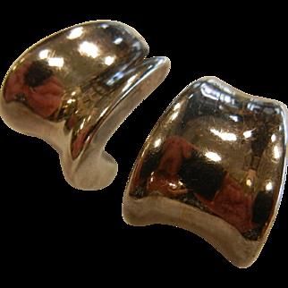 Vintage Sterling Silver Curved Modern Half-Hoop Earrings