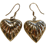 Sterling Silver Ribbed Puffy Heart Hook Earrings