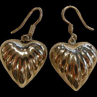 Sterling Silver Ribbed Puffy Heart Hook Earrings