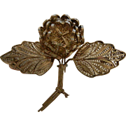 Vintage PERU Sterling Silver Filigree Rose Brooch