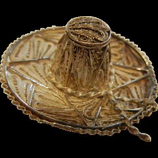 Vintage Peruvian Filigree Sterling Silver Sombrero Brooch