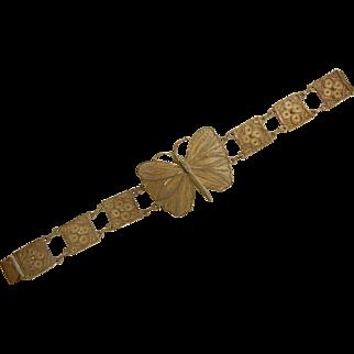 Vintage Peru Filigree Sterling Silver Bracelet w/ Butterfly Motif