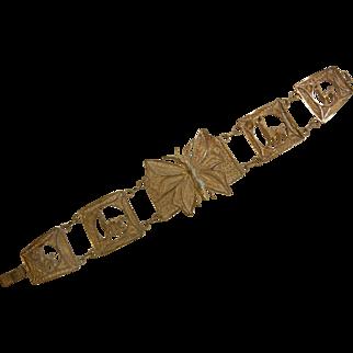 Vintage PERU Sterling Silver Filigree Bracelet w/ Butterfly & Llamas
