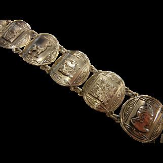 Vintage Sterling Silver Medallion Link Bracelet Signed PERU PLATA ESTERLINA