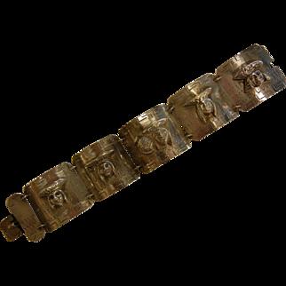 Large Vintage Sterling Silver Panel Link Bracelet w/ Figural Faces