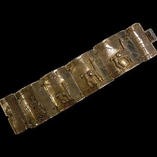 Large Vintage Peruvian Sterling Silver Panel Link Bracelet w/ Llamas & Mountains