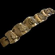 Vintage PERU Signed Sterling Silver Relief Medallion Link Bracelet