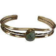 Vintage Sterling Silver Cuff Bracelet w/ Natural Turquoise