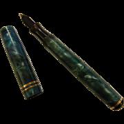 Vintage Rena Reynolds Marbled Aqua Blue Fountain Pen w 14K Nib