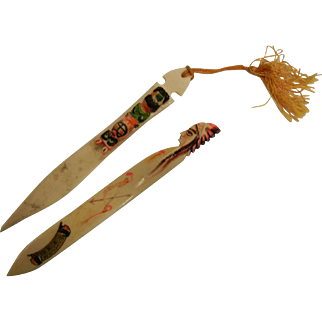 Pair of Vintage Painted Bone Souvenir of Yellowstone Park Letter Openers