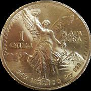 1985 Estados Unidos Mexicanos 1 Onza Silver Coin