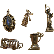 Five Sterling Silver Charms/Pendants