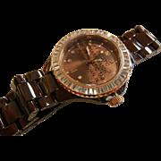 Isaac Mizrahi Live Brown Stainless Steel Wrist Watch