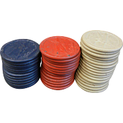 Vintage Spirit of St. Louis Clay Poker Chips w/ Plane Decor