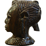 Vintage African Ebony Carved Wooden Head