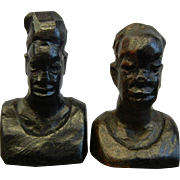 Pair of Vintage African Ebony Wooden Miniature Carved Figures