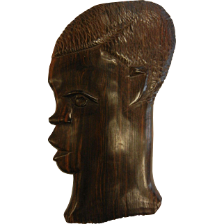 Vintage African Ebony Wood Carved Facial Wall Plaque