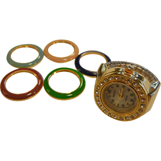 Vintage DIGITS Finger Watch Ring w/ Interchangeable Colors