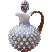 Vintage Signed Fenton Opalescent Lavender Glass Hobnail Pitcher w/ Stopper